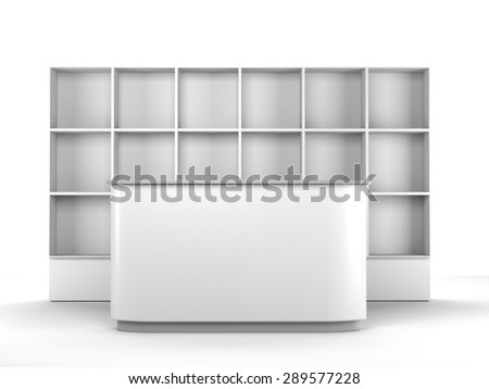 white big desk or counter with multiple square partitions shelf