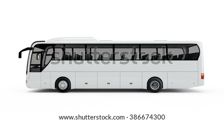 White big tour bus isolated on white background