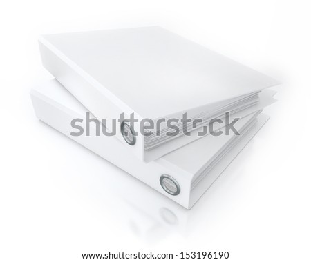 White Binders on the Floor, Template, Render - stock photo