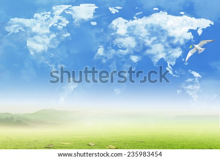 White birds flying around world map of clouds. International Mountain Day. World Environment concept. - stock photo