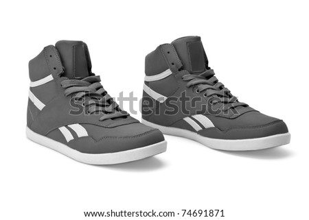 white black shoes - stock photo