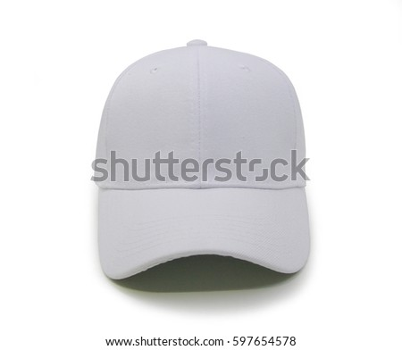 White blank baseball cap closeup of front view on white background