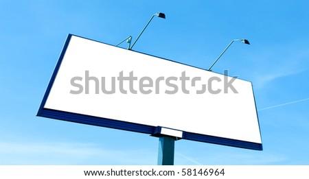 White blank billboard panoramic view - stock photo