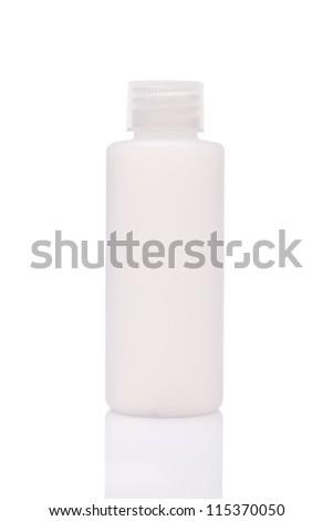white blank bottle, isolated on white background - stock photo