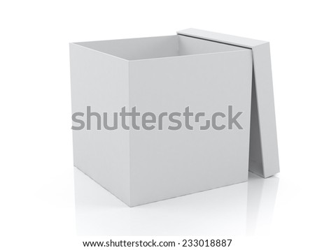 White blank box opened on white background, packaging design