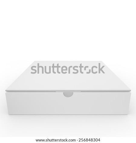 White blank box with a clasp for products and goods - stock photo