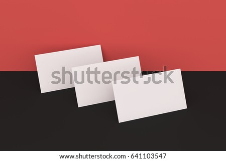 White blank business cards mock-up on black and red background. Corporate stationery template. 3D rendering illustration
