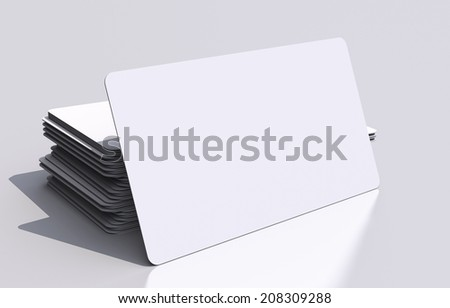 White Blank Business Cards Mockup. Rounded Corners 3D Business Cards Illustration. Visual Communication Concept. - stock photo
