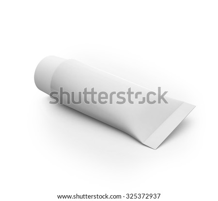 White blank cosmetic tube mock-up with white cap isolated on clean white background