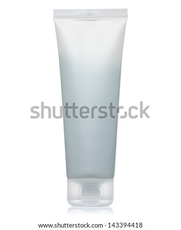 White blank cream tube closed isolated on white background