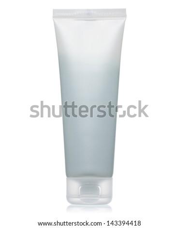 White blank cream tube closed isolated on white background - stock photo