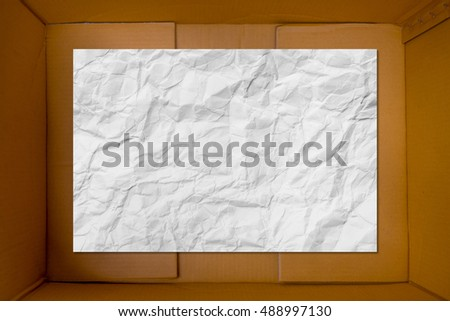 White blank crumpled paper inside cardboard corrugated carton texture as background
