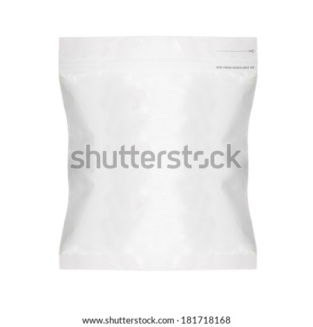 White Blank Foil Food Bag Packaging For Pepper, Spices, Sachet, Chips. Plastic Pack Template Ready For Your Design. (with clipping work path) - stock photo