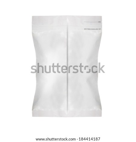 White Blank Foil Food Bag Packaging For Pepper, Spices, Sachet, Chips. Plastic Pack Template Ready For Your Design. (with clipping work path)
