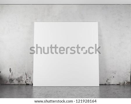 White blank frame against the wall. 3d render - stock photo