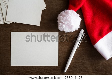 White blank greeting cards pen red stock photo download now white blank greeting cards pen and red hat letters to santa claus from children spiritdancerdesigns Gallery