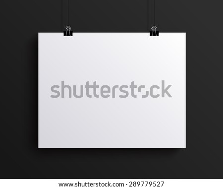 White blank horizontal sheet of paper on the dark grey background,  mock-up illustration