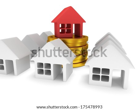 White blank houses and red one on stack of coins. Real estate, rent, building, out of crowd, home, mortgage, money concept. 3d render icon.