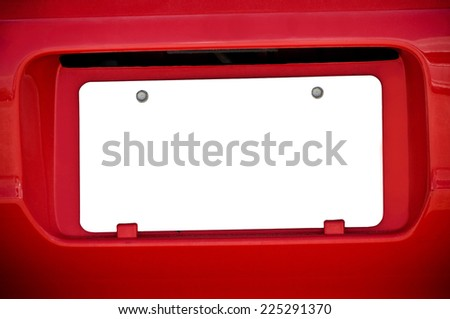 White Blank License Plate On Red Car - stock photo