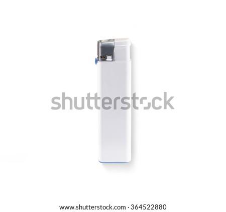 White blank lighter mock up lies isolated. Empty surface cigar-lighter design presentation. Lighter template mockup. Clear white lighter branding identity. - stock photo