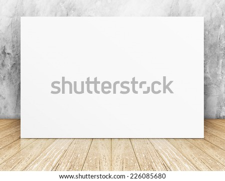 White Blank Long Poster in concrete wall and wooden floor room,Template Mock up for your content - stock photo
