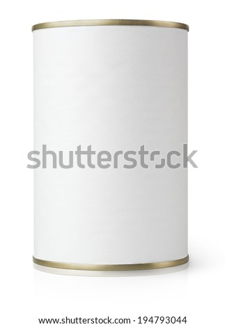 White Blank Metal Tin Can isolated on white with clipping path - stock photo