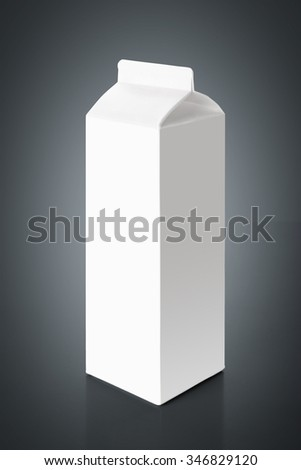 White blank milk carton packaging, isolated over gray background