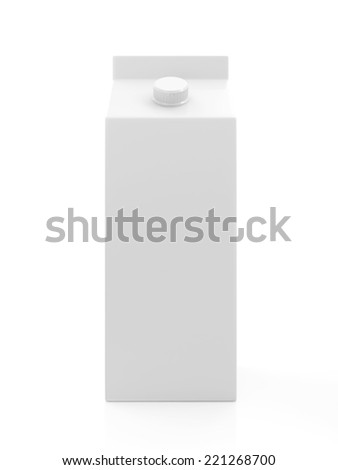 White Blank Milk or Juice Package isolated on white background - stock photo