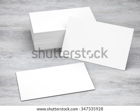 white blank name card front and back illustration - stock photo