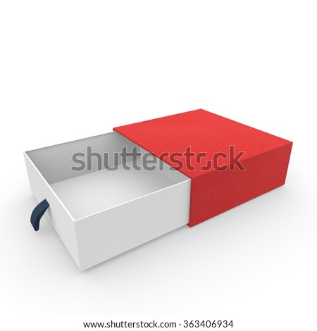 White blank open box covered with a red cloth. Isolated background