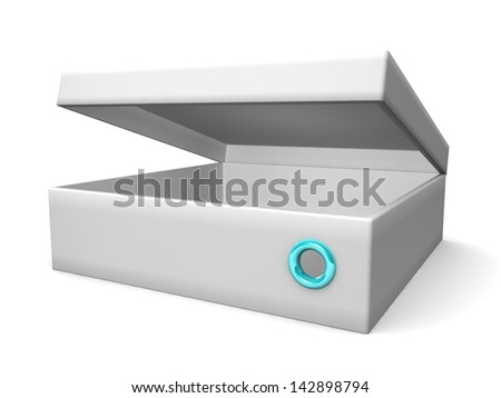 white blank open box isolated over white background - stock photo