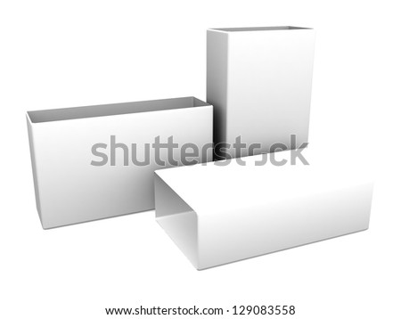 white blank open boxes isolated over white background - stock photo