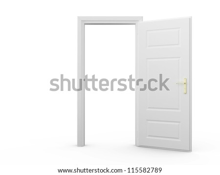 open door drawing perspective. Open Door Drawing Perspective. White Blank Opened Template, Isolated  On Background. Perspective