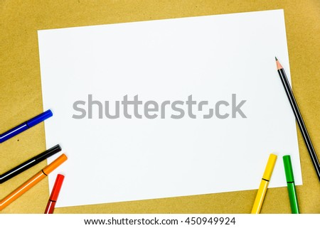 White blank paper and color writing tools , copy space for background use.