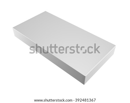 white blank paper box isolated on white background
