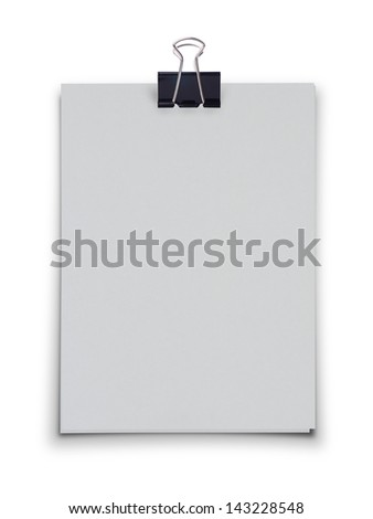 White blank paper with black clip on white