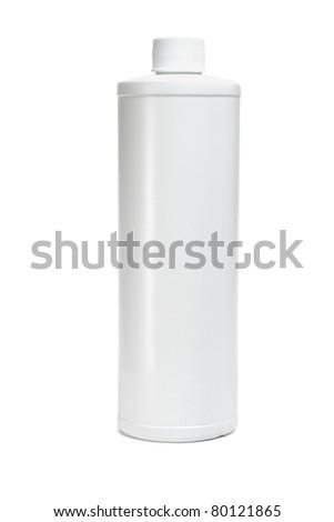 White blank plastic bottle on isolated background - stock photo