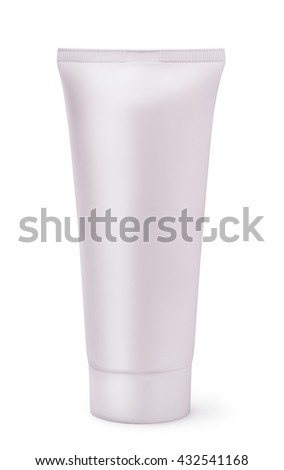 White blank plastic cosmetic tube isolated on white