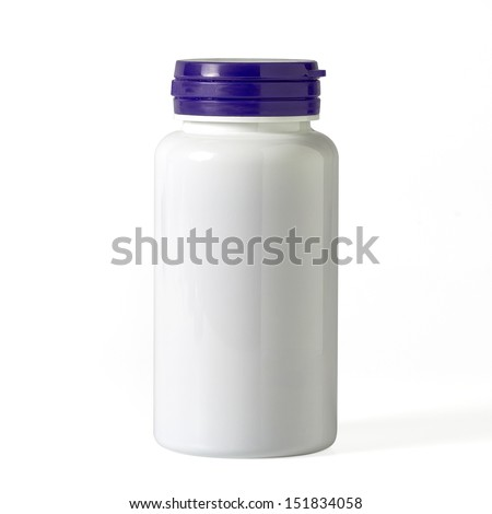 White blank plastic pill container on white background - stock photo