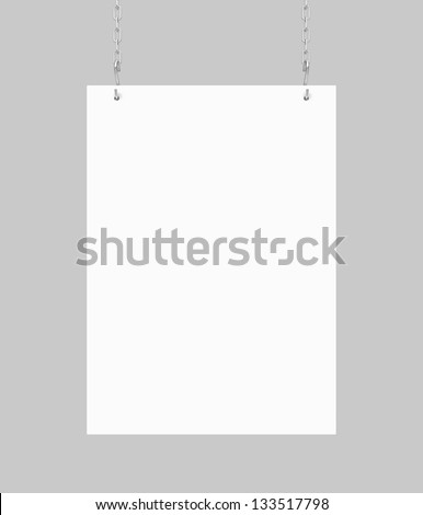 white blank poster hanging on chain