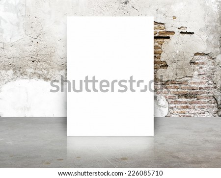 White Blank Poster in crack brick wall and concrete floor room,Template Mock up for your content - stock photo