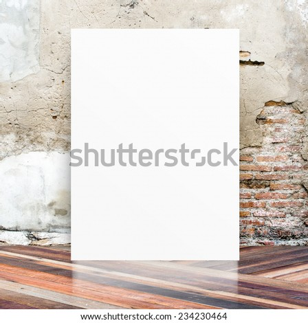 White Blank Poster in crack cement wall and diagonal wooden floor room,Template Mock up for your content,Business presentation - stock photo