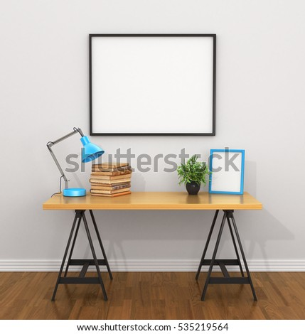 White blank poster on the grey wall near the Desk with a lamp, books, vase and empty frame. 3D illustration