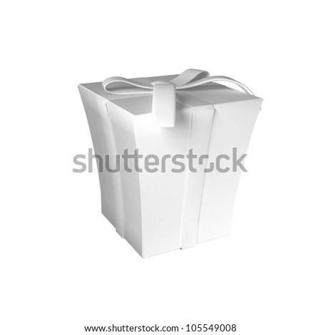 White blank present box isolated on white background - stock photo