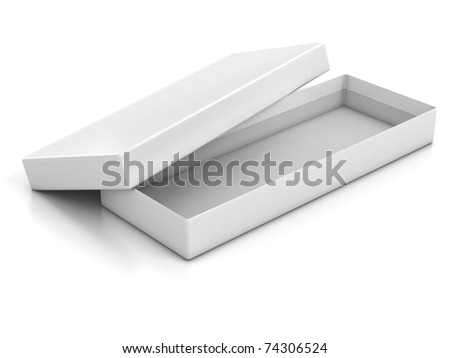 white blank shallow open box isolated over white background - stock photo