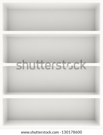 White blank shelf - stock photo