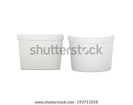 White  blank short Tub Food Plastic Container with clipping path, Plastic package mock up  - stock photo