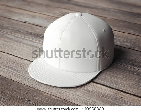 White blank snapback on the wooden floor. 3d rendering
