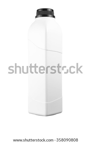 white blank square bottle with copy space area isolated on white.