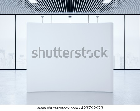 White blank trade show booth in bright interior. 3d rendering
